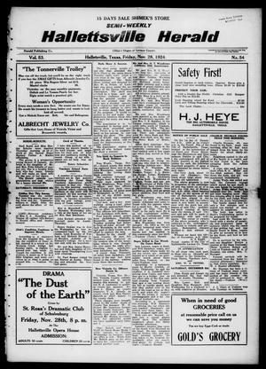 Primary view of object titled 'Semi-weekly Hallettsville Herald (Hallettsville, Tex.), Vol. 53, No. 54, Ed. 1 Friday, November 28, 1924'.