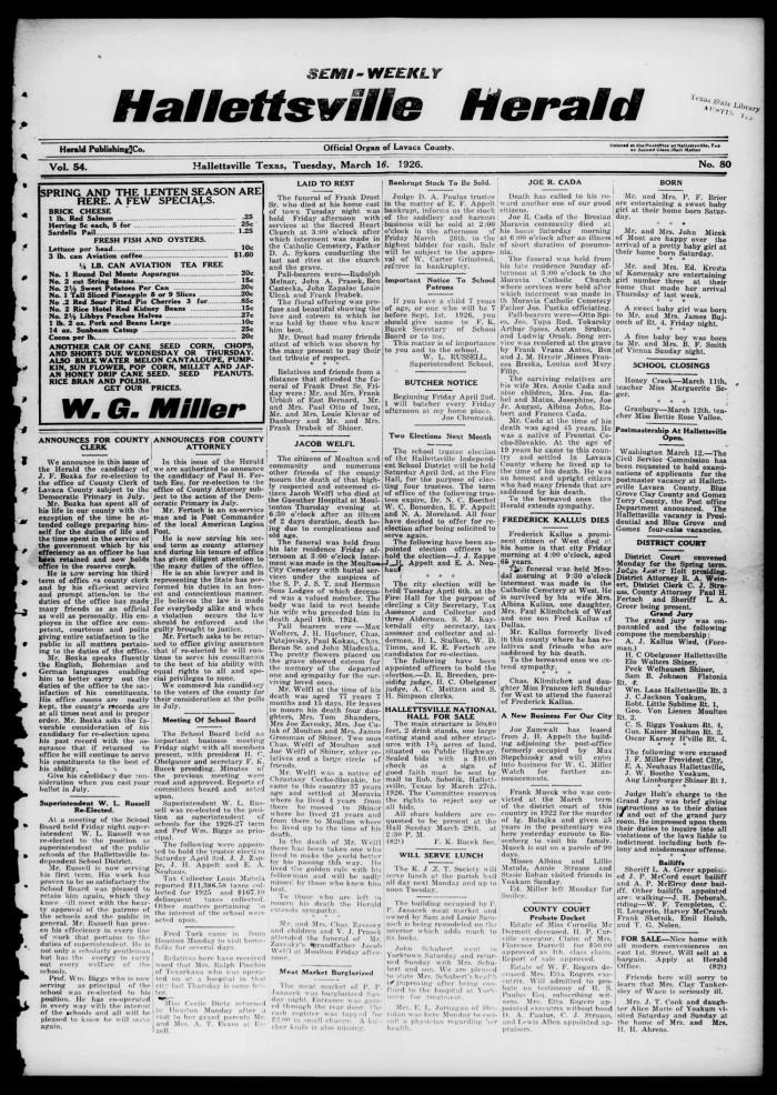 78ca0016298 Semi-weekly Hallettsville Herald (Hallettsville