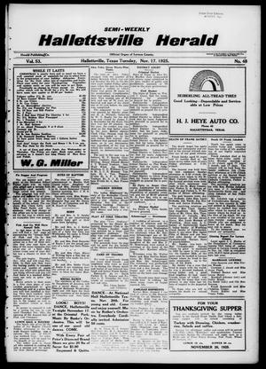 Primary view of object titled 'Semi-weekly Hallettsville Herald (Hallettsville, Tex.), Vol. 53, No. 48, Ed. 1 Tuesday, November 17, 1925'.