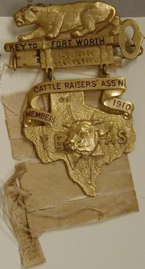 "Primary view of object titled '[Gold metal pin that states: ""KEY TO FORT WORTH 34TH ANNUAL CONVENTION""]'."