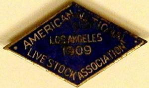 "Primary view of object titled '[Blue pin states: ""AMERICAN NATIONAL LIVE STOCK ASSOCIATION LOS ANGELES 1909""]'."
