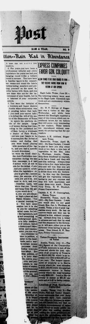 Primary view of object titled 'The Paducah Post (Paducah, Tex.), Vol. 7, No. 9, Ed. 1 Thursday, July 11, 1912'.