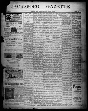 Primary view of object titled 'Jacksboro Gazette. (Jacksboro, Tex.), Vol. 12, No. 32, Ed. 1 Thursday, February 4, 1892'.