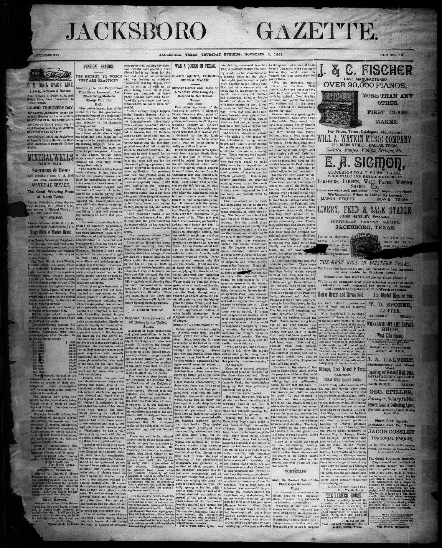 Jacksboro Gazette. (Jacksboro, Tex.), Vol. 14, No. 19, Ed. 1 Thursday, November 2, 1893                                                                                                      [Sequence #]: 1 of 4