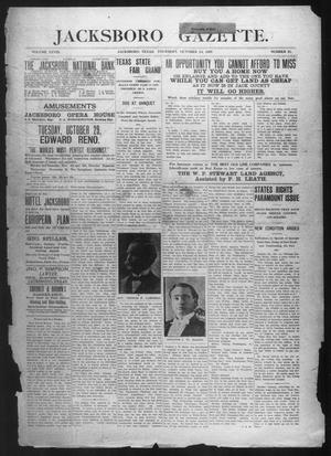 Primary view of object titled 'Jacksboro Gazette. (Jacksboro, Tex.), Vol. 28, No. 21, Ed. 1 Thursday, October 24, 1907'.