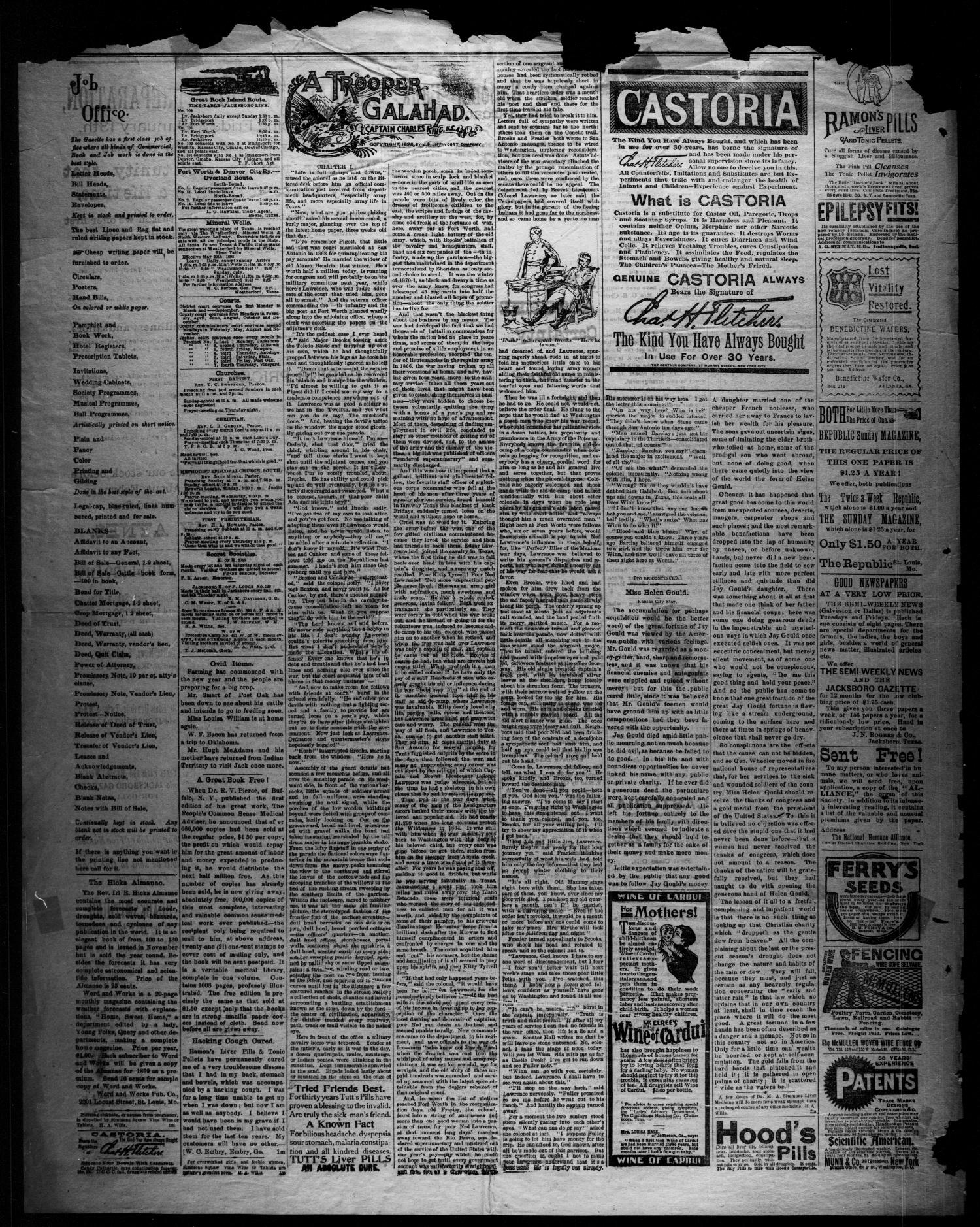 Jacksboro Gazette. (Jacksboro, Tex.), Vol. 19, No. 31, Ed. 1 Thursday, January 19, 1899                                                                                                      [Sequence #]: 4 of 4