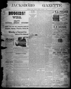 Primary view of object titled 'Jacksboro Gazette. (Jacksboro, Tex.), Vol. 14, No. 11, Ed. 1 Thursday, September 7, 1893'.