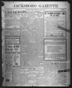 Primary view of object titled 'Jacksboro Gazette. (Jacksboro, Tex.), Vol. 28, No. 9, Ed. 1 Thursday, August 1, 1907'.
