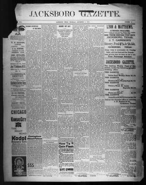 Primary view of object titled 'Jacksboro Gazette. (Jacksboro, Tex.), Vol. 22, No. 14, Ed. 1 Thursday, September 5, 1901'.