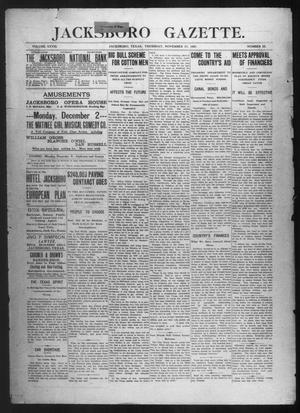 Primary view of object titled 'Jacksboro Gazette. (Jacksboro, Tex.), Vol. 28, No. 25, Ed. 1 Thursday, November 21, 1907'.