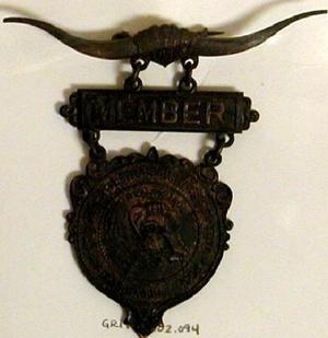Primary view of object titled '[Three tiered Dallas longhorn livestock pin]'.