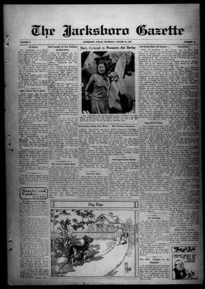 Primary view of object titled 'The Jacksboro Gazette (Jacksboro, Tex.), Vol. 50, No. 13, Ed. 1 Thursday, August 29, 1929'.