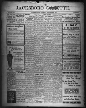 Primary view of object titled 'Jacksboro Gazette. (Jacksboro, Tex.), Vol. 26, No. 17, Ed. 1 Thursday, September 21, 1905'.