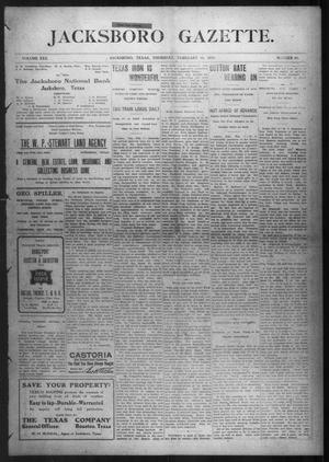Primary view of object titled 'Jacksboro Gazette. (Jacksboro, Tex.), Vol. 30, No. 34, Ed. 1 Thursday, February 10, 1910'.