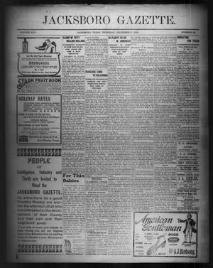 Primary view of object titled 'Jacksboro Gazette. (Jacksboro, Tex.), Vol. 25, No. 28, Ed. 1 Thursday, December 8, 1904'.