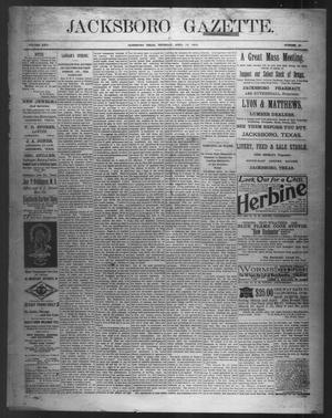 Primary view of object titled 'Jacksboro Gazette. (Jacksboro, Tex.), Vol. 22, No. 45, Ed. 1 Thursday, April 10, 1902'.