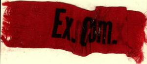 Primary view of object titled '[Red silk ribbon with black lettering]'.