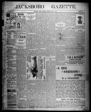 Primary view of object titled 'Jacksboro Gazette. (Jacksboro, Tex.), Vol. 18, No. 45, Ed. 1 Thursday, April 7, 1898'.