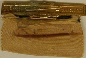 "Primary view of object titled '[Gold pin that states: ""SAN ANTONIO - CHICAGO""]'."