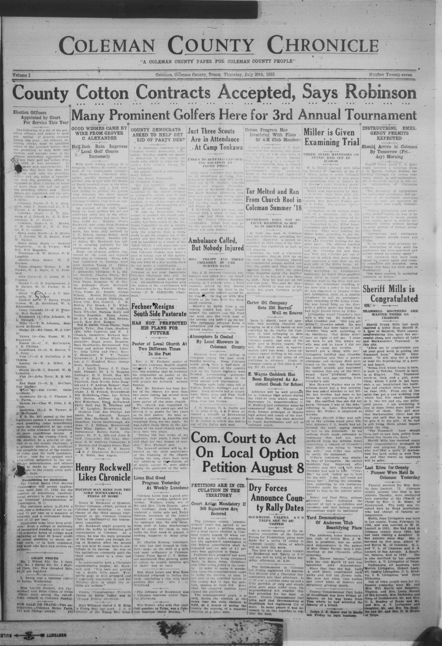 Coleman County Chronicle (Coleman, Tex.), Vol. 1, No. 27, Ed. 1 ...