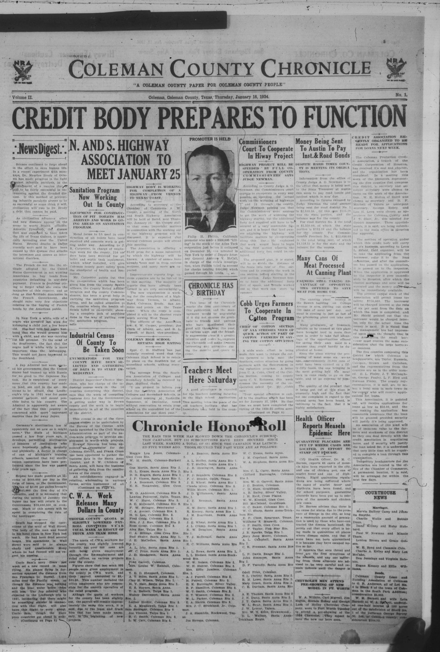 Coleman County Chronicle (Coleman, Tex ), Vol  2, No  1, Ed