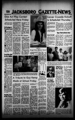 Primary view of object titled 'Jacksboro Gazette-News (Jacksboro, Tex.), Vol. 92, No. 46, Ed. 1 Monday, April 10, 1972'.