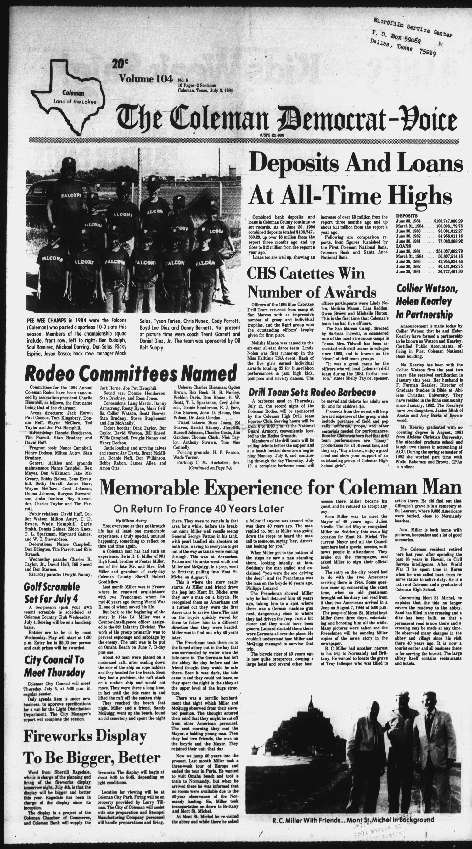 The Coleman Democrat-Voice (Coleman, Tex.), Vol. 104, No. 8, Ed. 1 Tuesday, July 3, 1984                                                                                                      [Sequence #]: 1 of 16