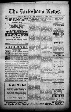 Primary view of object titled 'The Jacksboro News. (Jacksboro, Tex.), Vol. 19, No. 33, Ed. 1 Wednesday, October 20, 1915'.