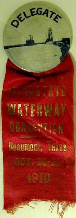 "Primary view of object titled '[""Interstate Waterway Convention"" ribbon with ""Delegate"" button]'."