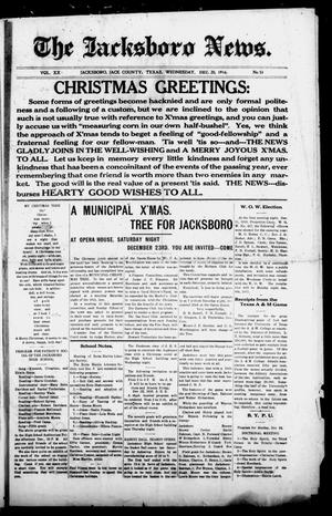 Primary view of object titled 'The Jacksboro News. (Jacksboro, Tex.), Vol. 20, No. 51, Ed. 1 Wednesday, December 20, 1916'.