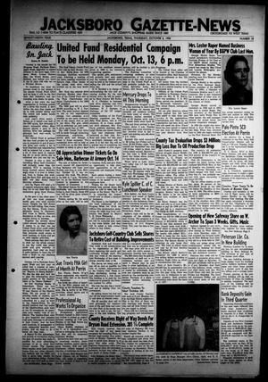 Primary view of object titled 'Jacksboro Gazette-News (Jacksboro, Tex.), Vol. 79, No. 18, Ed. 1 Thursday, October 2, 1958'.