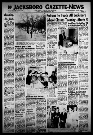 Primary view of object titled 'Jacksboro Gazette-News (Jacksboro, Tex.), Vol. EIGHTY-EIGHTH YEAR, No. 39, Ed. 0 Thursday, February 22, 1968'.