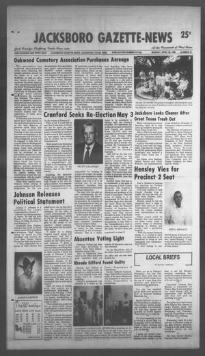 Primary view of object titled 'Jacksboro Gazette-News (Jacksboro, Tex.), Vol. 105, No. 51, Ed. 1 Monday, April 28, 1986'.