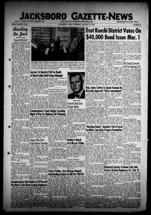 Primary view of object titled 'Jacksboro Gazette-News (Jacksboro, Tex.), Vol. 78, No. 35, Ed. 1 Thursday, January 30, 1958'.