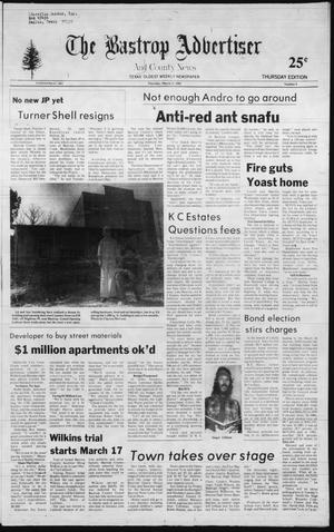 Primary view of object titled 'The Bastrop Advertiser and County News (Bastrop, Tex.), No. 4, Ed. 1 Thursday, March 11, 1982'.