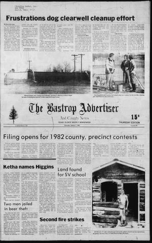 Primary view of object titled 'The Bastrop Advertiser and County News (Bastrop, Tex.), No. 90, Ed. 1 Thursday, January 7, 1982'.