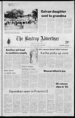 Primary view of object titled 'The Bastrop Advertiser and County News (Bastrop, Tex.), No. 20, Ed. 1 Thursday, May 6, 1982'.
