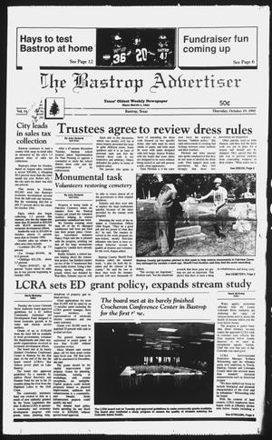 Primary view of object titled 'The Bastrop Advertiser (Bastrop, Tex.), Vol. 142, No. 67, Ed. 1 Thursday, October 19, 1995'.