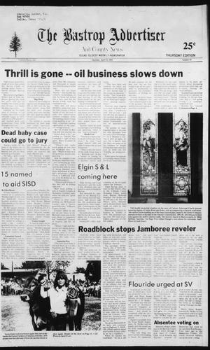 Primary view of object titled 'The Bastrop Advertiser and County News (Bastrop, Tex.), No. 16, Ed. 1 Thursday, April 22, 1982'.