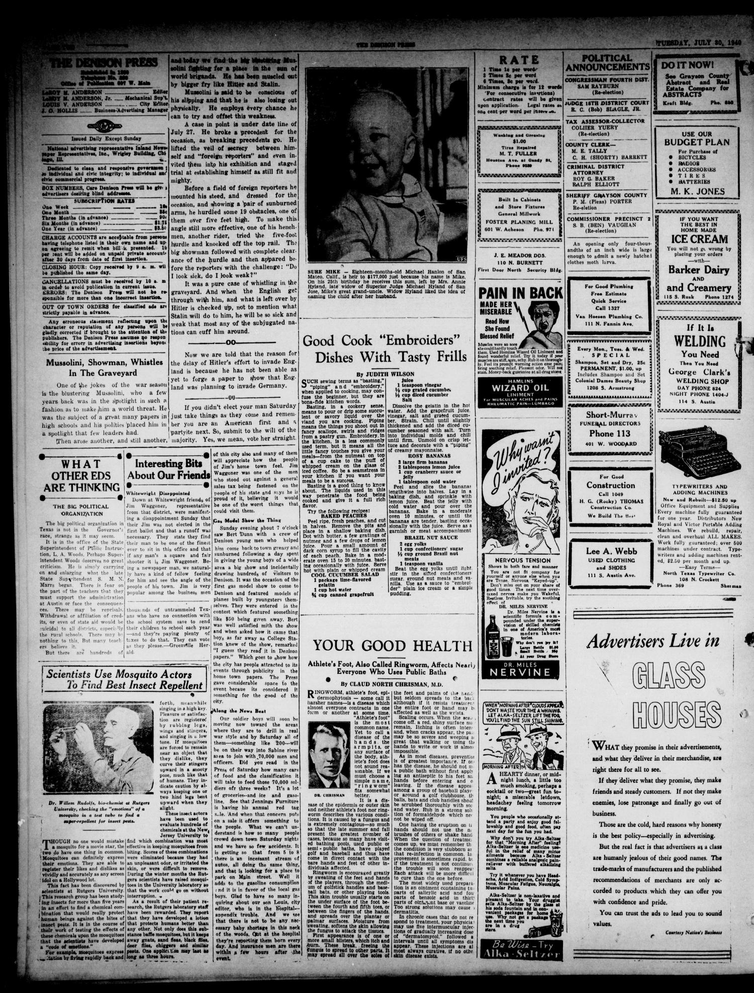 The Denison Press (Denison, Tex.), Vol. 7, No. 32, Ed. 1 Tuesday, July 30, 1940                                                                                                      [Sequence #]: 2 of 4