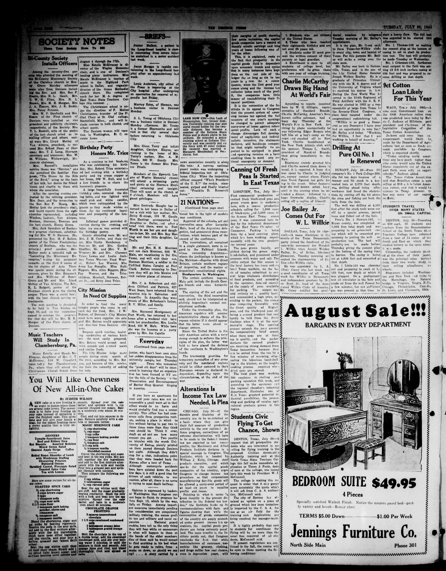 The Denison Press (Denison, Tex.), Vol. 7, No. 32, Ed. 1 Tuesday, July 30, 1940                                                                                                      [Sequence #]: 4 of 4