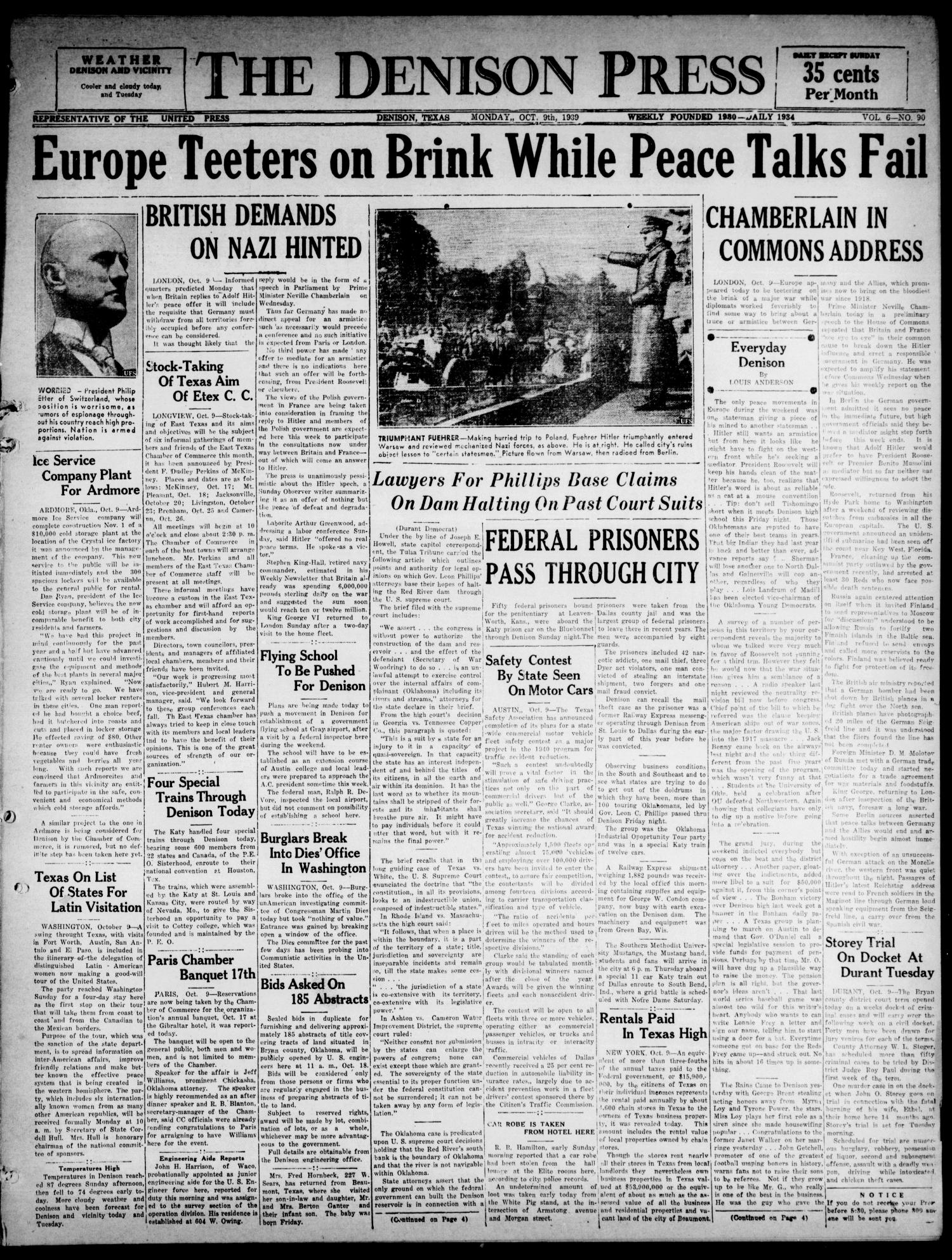 The Denison Press (Denison, Tex.), Vol. 6, No. 90, Ed. 1 Monday, October 9, 1939                                                                                                      [Sequence #]: 1 of 4