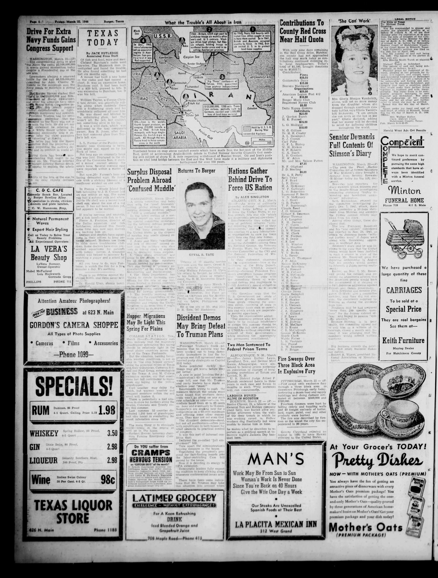 Borger Daily Herald (Borger, Tex.), Vol. 20, No. 101, Ed. 1 Friday, March 22, 1946                                                                                                      [Sequence #]: 4 of 8