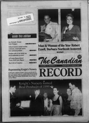 Primary view of object titled 'The Canadian Record (Canadian, Tex.), Vol. 110, No. 12, Ed. 1 Thursday, March 23, 2000'.