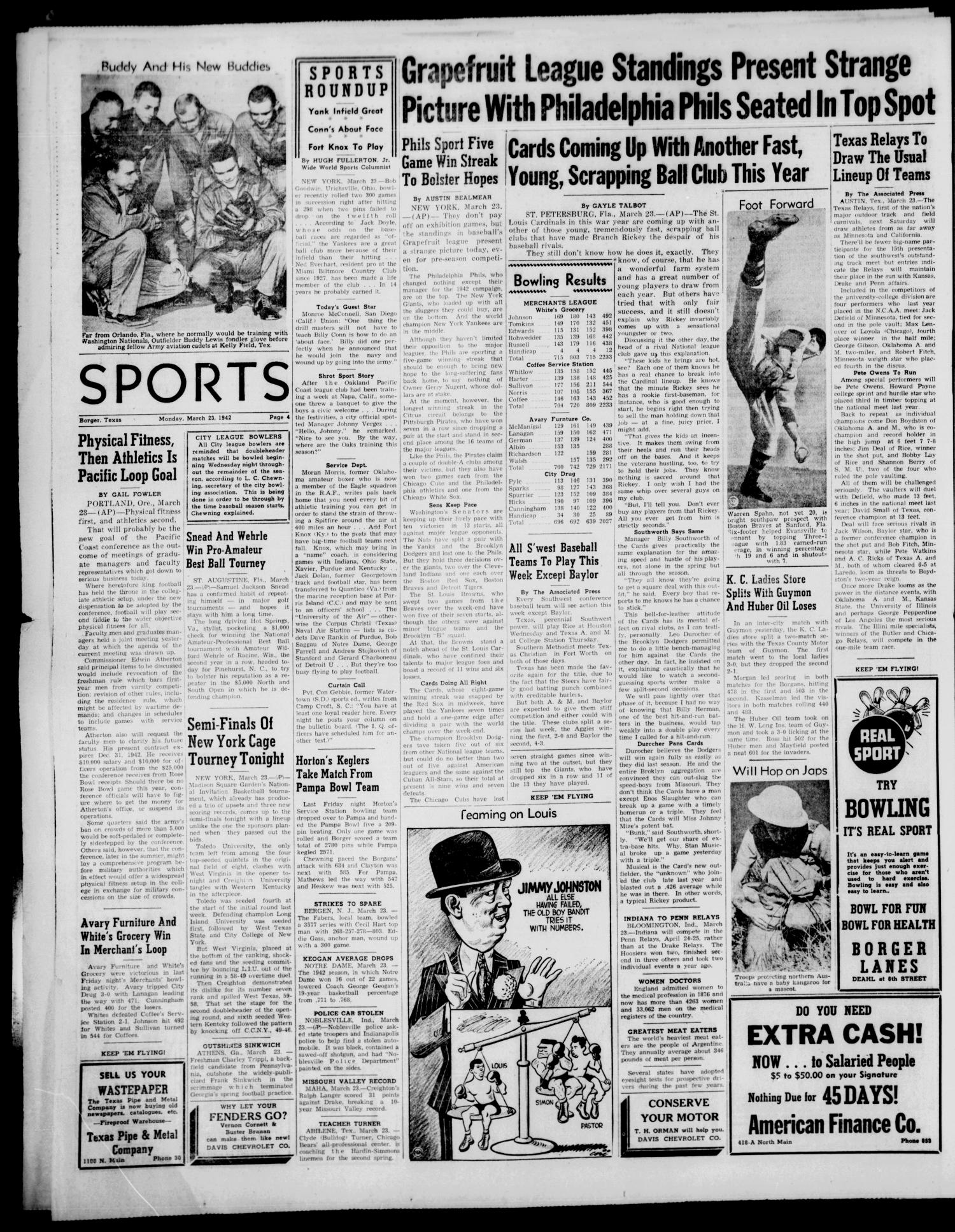 Borger Daily Herald (Borger, Tex.), Vol. 16, No. 104, Ed. 1 Monday, March 23, 1942                                                                                                      [Sequence #]: 4 of 6