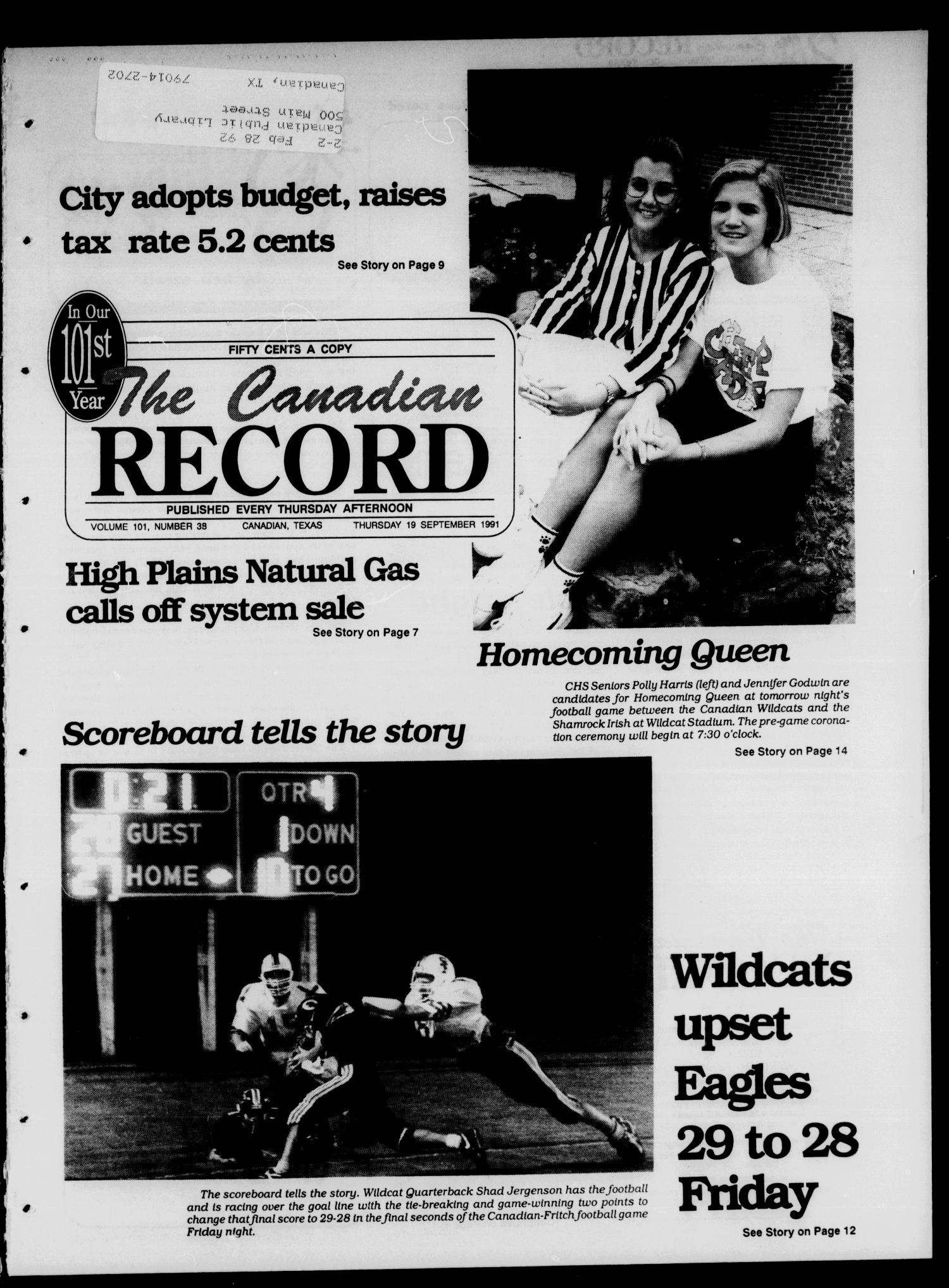 The Canadian Record (Canadian, Tex.), Vol. 101, No. 38, Ed. 1 Thursday, September 19, 1991                                                                                                      [Sequence #]: 1 of 32
