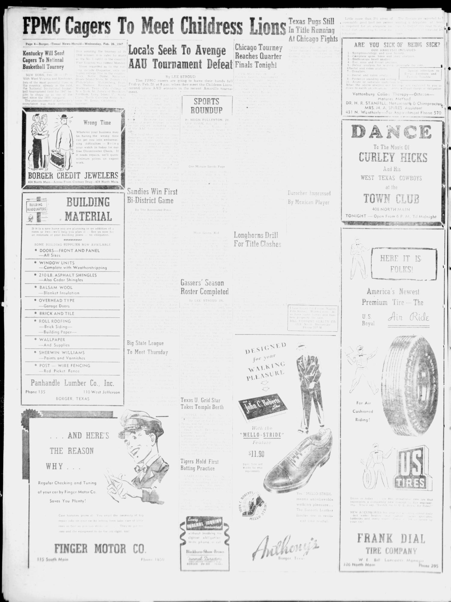 Borger News-Herald (Borger, Tex.), Vol. 21, No. 79, Ed. 1 Wednesday, February 26, 1947                                                                                                      [Sequence #]: 4 of 6