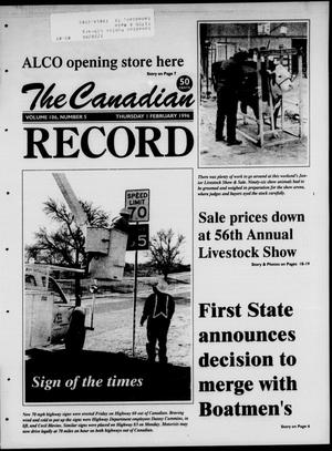 Primary view of object titled 'The Canadian Record (Canadian, Tex.), Vol. 106, No. 5, Ed. 1 Thursday, February 1, 1996'.