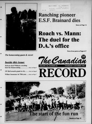 Primary view of object titled 'The Canadian Record (Canadian, Tex.), Vol. 106, No. 40, Ed. 1 Thursday, October 3, 1996'.