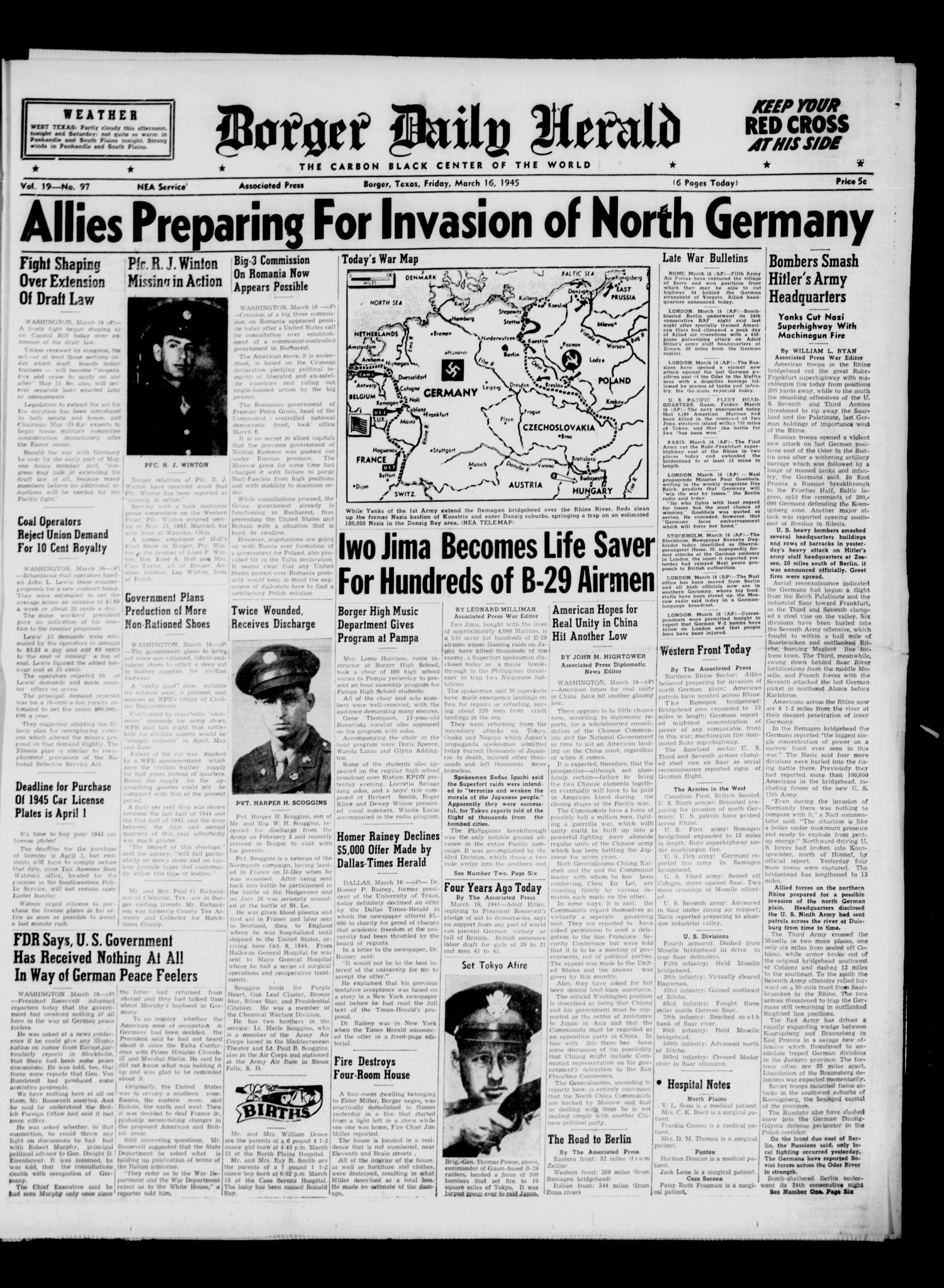 Borger Daily Herald (Borger, Tex.), Vol. 19, No. 97, Ed. 1 Friday, March 16, 1945                                                                                                      [Sequence #]: 1 of 6